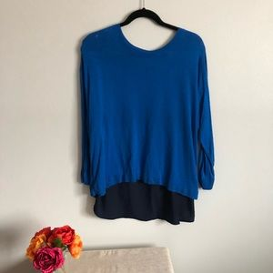 Light blue knit sweater with Navy Chiffon